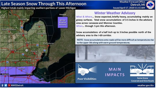 A winter weather advisory was issued for Lenawee and Monroe counties until 5 p.m.