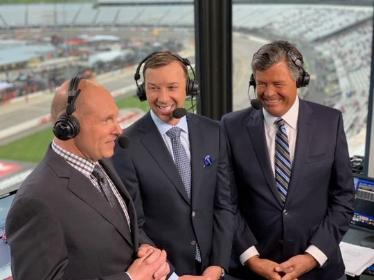 Adam Alexander in the broadcast booth with Chad Knaus (center), who won seven championships as Jimmie Johnson's crew chief, and Michael Waltrip.