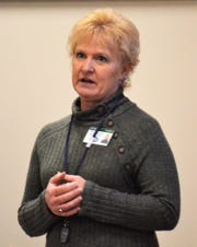 Oconto County Public Health Officer Debra Konitzer speaks to Oconto County Board members about the coronavirus pandemic at a meeting on March 20.