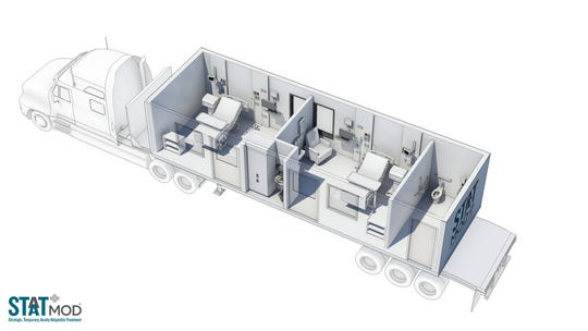 An overview of a STAAT-Mod unit loaded on a semi-truck shows the two care rooms.