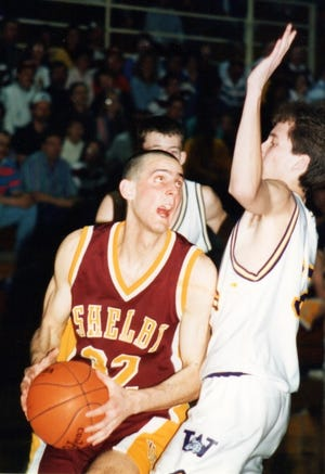 Former Shelby standout Mat Seidensticker eyes the rim during a 1995 District 1B game at Cut Bank.