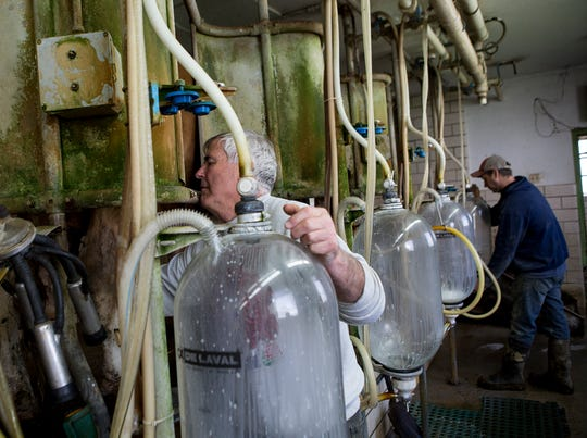 Lee Kohler and his son Jeremy hook their dairy cows up to machines to be milked.