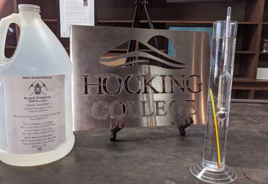 Hocking College and Jackie O's teamed up for the first run of the Hocking College New Straitsville Black Diamond Distillery hand sanitizer. At right is an ethanol hydrometer in a graduated cylinder showing the sanitizer's alcohol content.