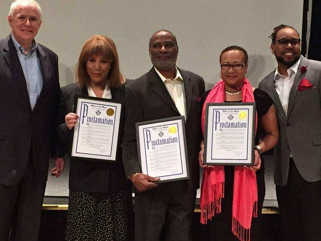 Mayor Tom Barrett, Carole Meekins, Eugene Kane, Faithe Colas and James E. Causey are pictured at the Honoring Our Own awards ceremony hosted by the Wisconsin Black Media Association. Kane was honored with an award at the February 2017 event.