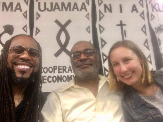 Members of the local media participated in a forum discussing how the media covers violence. The event was held at the Wisconsin Black Historical Society on June 27, 2017.  James E. Causey, Eugene Kane and Ashley Luthern took a selfie at the end of the event.