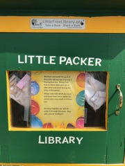 Mark Lampereur has placed face masks during the coronavirus outbreak in his Little Free Library in Green Bay.
