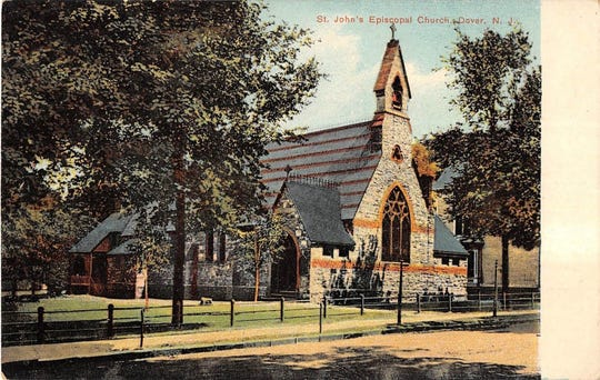 St. John's Episcopal Church in Dover was turned into a hospital when Morris County was overwhelmed by the Spanish flu in 1918. This postcard was from the Rutgers University Library.