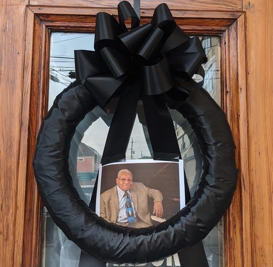 A wreath for New Orleans jazz musician Ellis Marsalis Jr. on the door of Snug Harbor, where Marsalis played for 30 years.