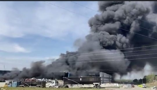 A warehouse in Mt. Juliet caught fire Friday, April 17, 2020, likely from debris and battery chemicals, the Mt. Juliet fire chief said.