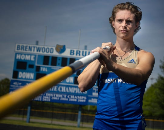 Brentwood High School decathlete Jett Kinder lost his senior season of track and field because high school spring sports were canceled because of the coronavirus COVID-19 outbreak. photographed at Brentwood High School Friday, April 17, 2020 in Brentwood, Tenn.