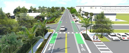 A rendering of improvements to Eighth Street at Fifth Avenue North in Naples.