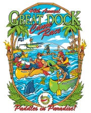 The reworked poster of the 44th annual Great Dock Canoe Race, updated to add facemasks and rolls of toilet paper. The race has been canceled due to the coronavirus pandemic.