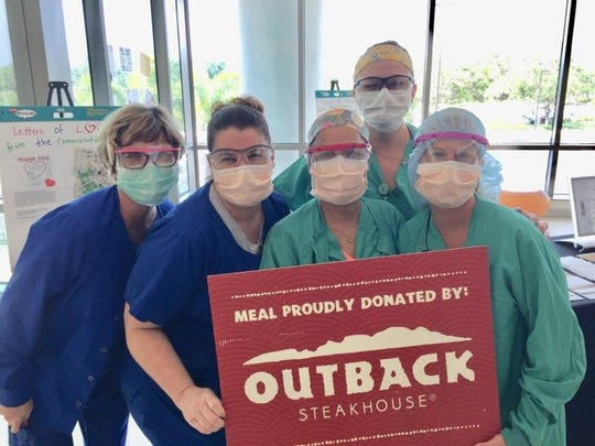 Outback Steakhouse off Cleveland Avenue in Fort Myers donated 600 meals to doctors and nurses at Golisano Children's Hospital of Southwest Florida.