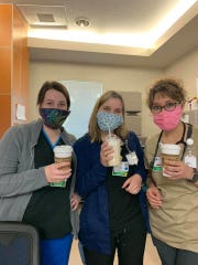 Three local women enjoy free coffee on the house from Plateau Espresso which offered them free drinks to show appreciation to health care workers on Friday morning. Courtesy photo.