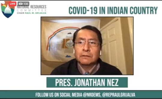 A screenshot shows Navajo Nation President Jonathan Nez during a roundtable discussion between U.S. Rep. Raúl Grijalva, D-Ariz., and Native American leaders on April 17. The event was streamed live on Facebook.