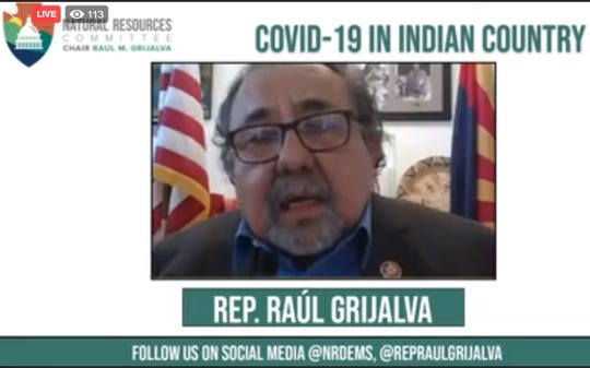 A screenshot shows U.S. Rep. Raúl Grijalva, D-Ariz., speaking at a roundtable discussion with Native American leaders on April 17. The event was streamed live on Facebook.
