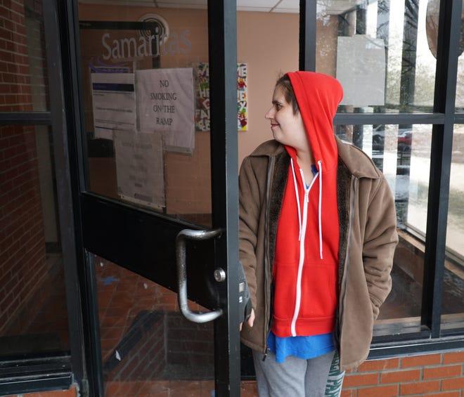Samaritas shelter resident Virginia Blythe exits the Westland complex on April 17, 2020.