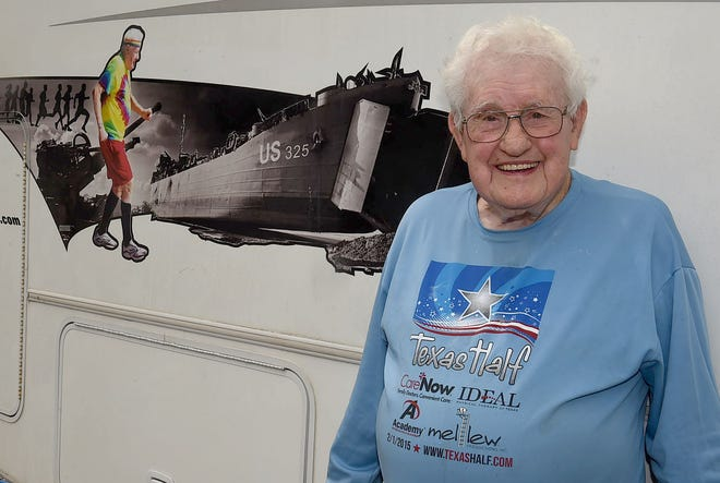 96-year-old Ernie Andrus stopped off in Krotz Springs during his coast to coast run to raise funds for the LST 325 Ship Memorial, The LST 325 is a World War II era ship used to land troops and supplies onto hostile shores.