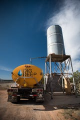 DigDeep's water truck fills up to deliver water to Navajo families participating in the Navajo Water Project. The nonprofit currently supplies 300 families with either an off-grid water/solar system or bill payment assistance.