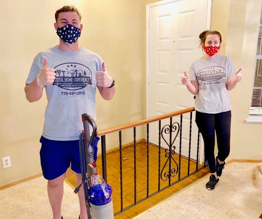 Nick Kinsey-Baker and Kenzie Di Lillo clean homes for Total Home Experience in Reno during the COVID-19 pandemic.