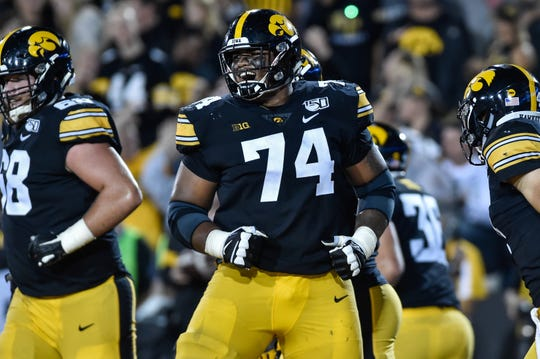 Iowa Hawkeyes offensive lineman Tristan Wirfs (74) reacts during the game against the Miami (Oh) Redhawks at Kinnick Stadium.