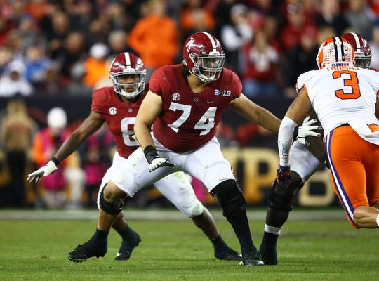 Alabama Crimson Tide  tackle Jedrick Wills Jr (74) against the Clemson Tigers in the 2019 College Football Playoff Championship game.