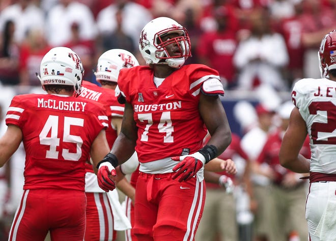 Houston Cougars offensive lineman Josh Jones (74) played 45 games during his four-year career.