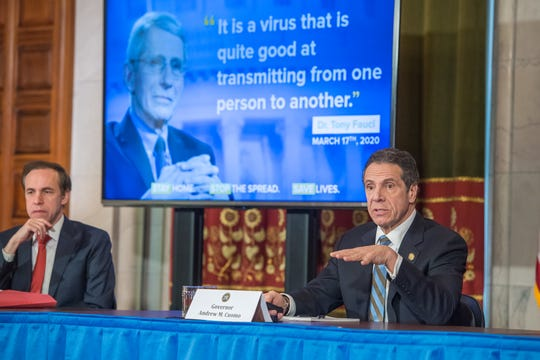 Gov. Andrew Cuomo speaks at his daily coronavirus briefing at the state Capitol on Thursday, April 16, 2020.