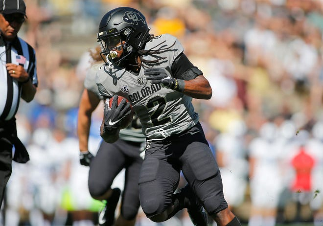 Colorado Buffaloes wide receiver Laviska Shenault Jr. (2) runs a reception into the end zone.