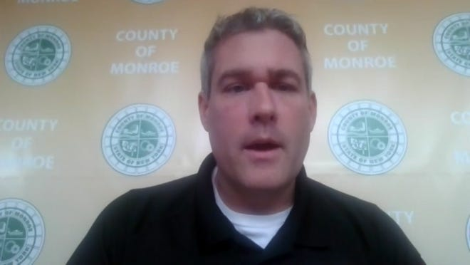 Adam Bello speaks about small business programs during video conference on April 17, 2020.
