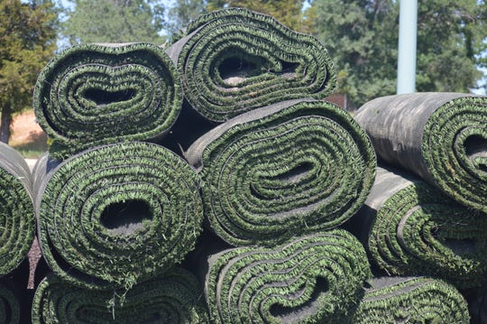Roughly 2,000 pieces of old turf were stripped at California Soccer Park in Redding to way for newly installed turf on Friday, April 17, 2020.