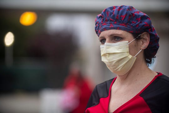 Saunya Cortez, a registered nurse that works in intervention and radiology for Natividad was one of thousands of nurses that participated in the statewide vigil on Thursday, April 16, 2020.