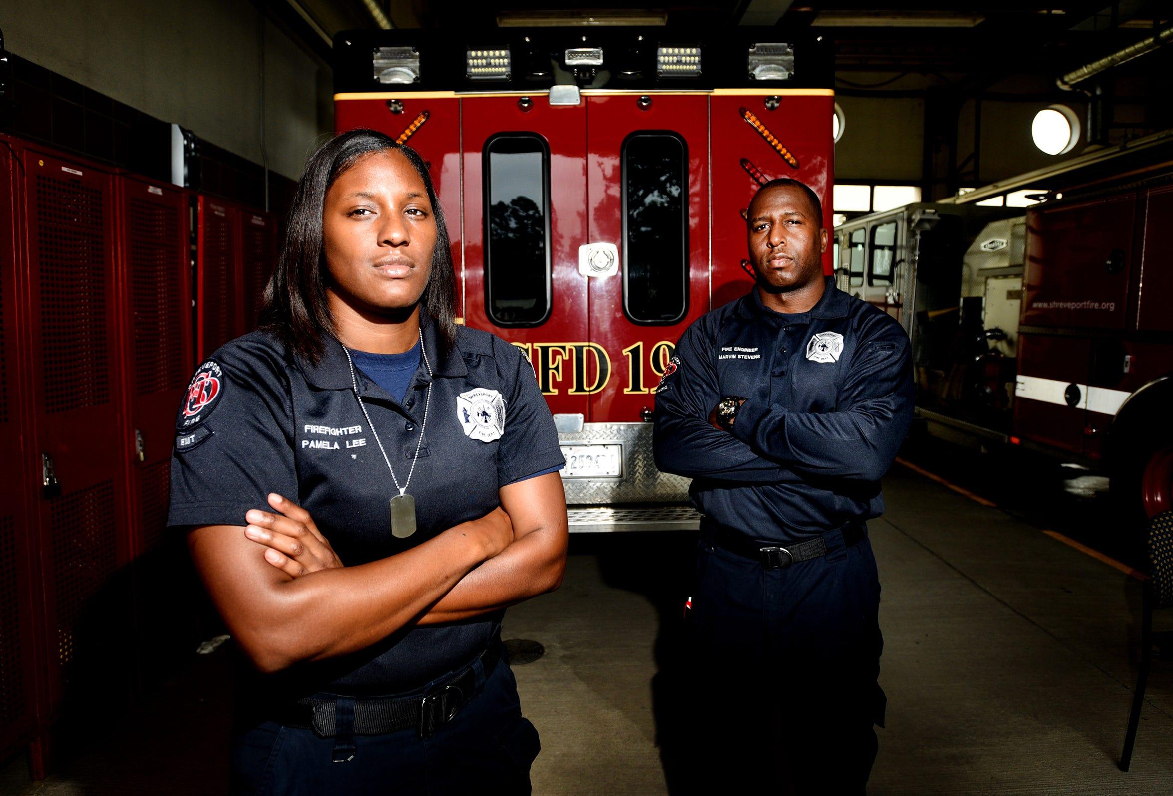 Firefighter/ EMT-basic Pamela Lee and  Fire Engineer/Paramedic Marvin Stevens at Shreveport Fire Station No. 19.