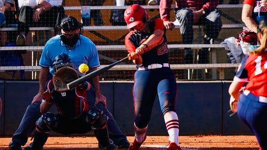 Dixie State softball freshman Laura Lockard was batting .348 for the Trailblazers before the season was canceled.