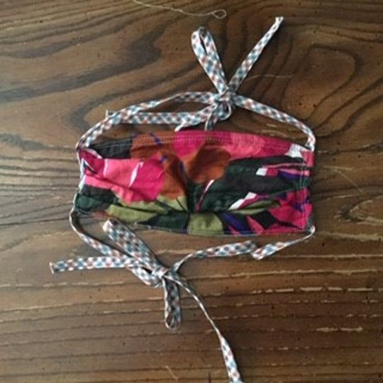 Mask with ties by Pam Doffek