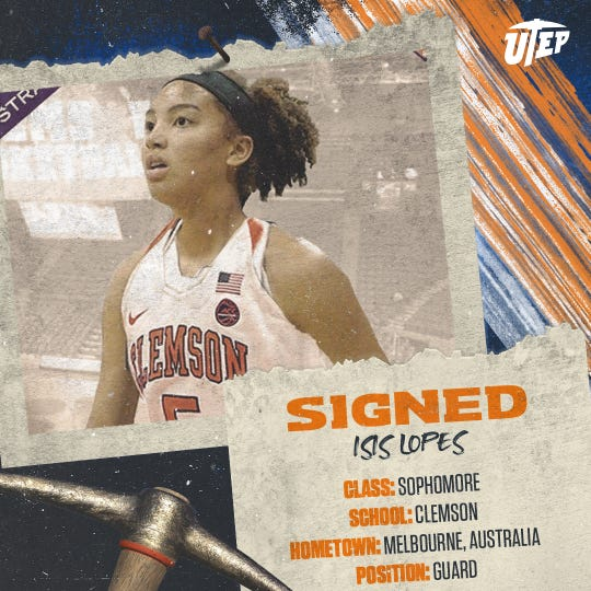 The UTEP women's basketball program has picked up Clemson transfer Isis Lopes.