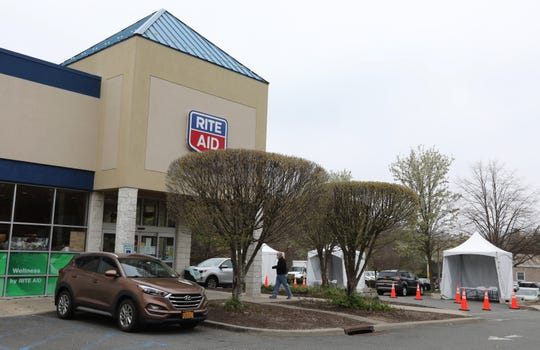 A COVID-19 outdoor testing area is set up at Rite Aid in Valley Cottage April 17, 2020.