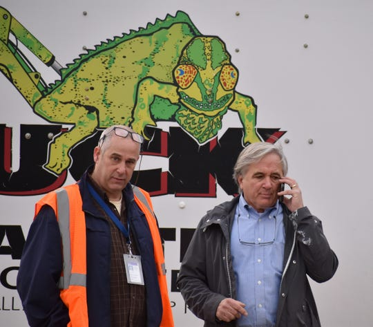 Carmel Town Engineer Rich Frazetti, left, with Town Board member Mike Barile at the pressure test for Barile's sewer line on March 10, 2020.