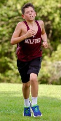 Freshman Eric Perry ran 10 miles as part of a 96-mile virtual relay completed by the Milford High School girls and boys cross country teams to salute health-care workers, first responders and government officials.