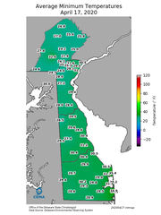 This map from the University of Delaware's Delaware Environmental Observing System shows the overnight low temps that threatened Delaware's remaining peach orchards the night of April 16.
