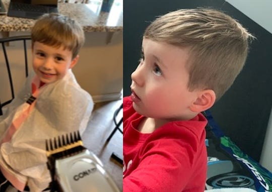 Chase Salter got a hair cut from his mom Ariana during the pandemic. She learned from some YouTube videos.