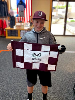 Fourth grader Jacoby Balo hit his first career hole-in-one recently on the 17th hole at Eaglesticks.