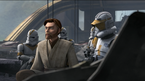 Obi-Wan and the clones work together ... for now.