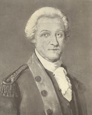 "John Sevier, from frontispiece of ""History of the Lost State of Franklin"" by Samuel Cole Williams (1924)."