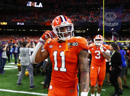 Clemson linebacker Isaiah Simmons leaves the field after losing the College Football Playoff national championship game against LSU at Mercedes-Benz Superdome, Jan. 13, 2020 in New Orleans.
