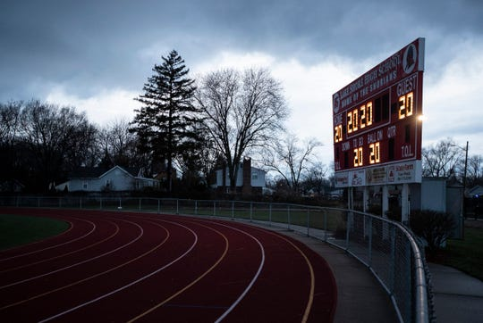 The scoreboard shows 2020 as the lights will be turned on to honor Class of 2020 at the football stadium  St. Clair Shores Lake Shore High School on April 17, 2020.