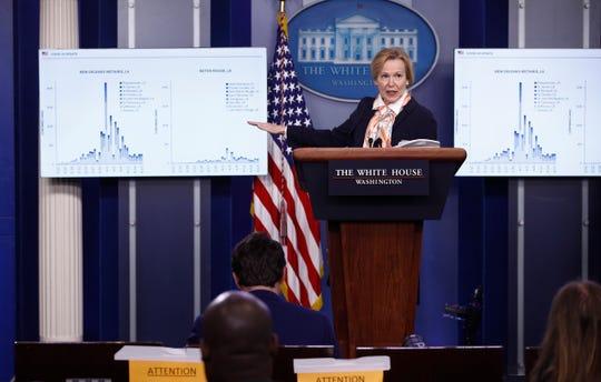 White House coronavirus response coordinator Dr. Deborah Birx speaks during a coronavirus task force briefing at the White House, Saturday, April 18, 2020, in Washington.