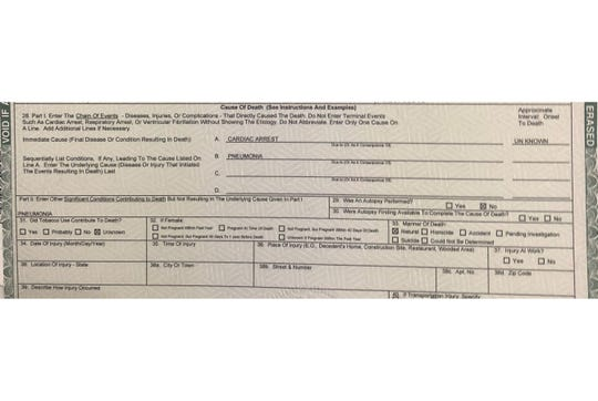 The part of Stanley Turner's death certificate that lists causes of death does not include COVID-19. Turner was the first Vanderburgh County resident to die after testing positive for COVID-19.