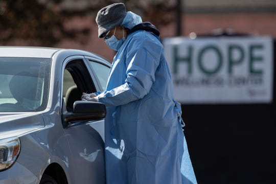 Medical personnel conducted free coronavirus testing at St. Stephen's Church on 15th Street in Louisville, Kentucky. More than 500 people were tested for the virus. April 18, 2020