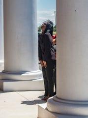 Lakitta Jackson arrives at her husband, NFL quarterback and Montgomery native Tarvaris Jackson's funeral at True Divine Baptist Church in Montgomery, Ala., on Saturday, April 18, 2020.